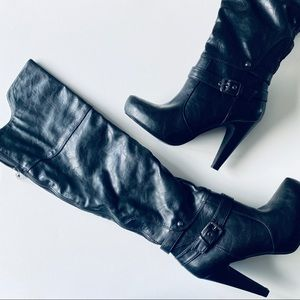 Guess Over the Knee Black High Heel Platform Boots